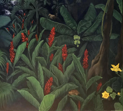 Rainforest wall-red ginger plant